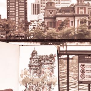 水彩deサクッと風景スケッチ 中之島 中央公会堂を描く 2019