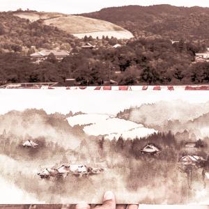 水彩de風景スケッチ・奈良 若草山を望む 2019