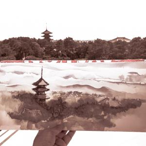 水彩de風景スケッチ・奈良 興福寺を望む 2019