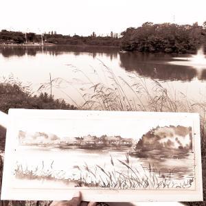水彩deサクッと風景スケッチLIVE 鶴見緑地 4話 大池を描く 2019