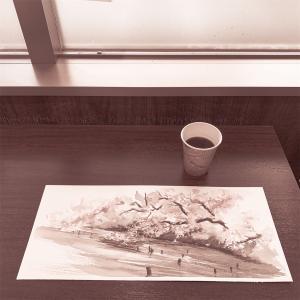 水彩de風景スケッチ 桃ヶ池公園のサクラ2020