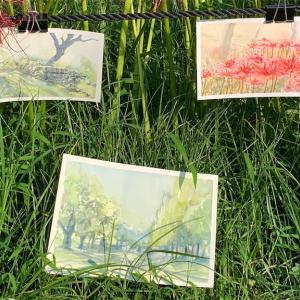 水彩de風景スケッチ 鶴見緑地のヒガンバナ 2021