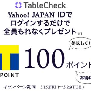 【全プレ・本日まで】YahooID連携でもれなくTポイント100円分プレゼント!(~3月26日)