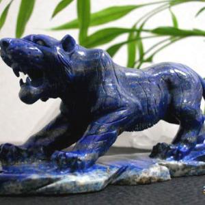 天然ラピスラズリ(虎 - タイガー)の彫刻物