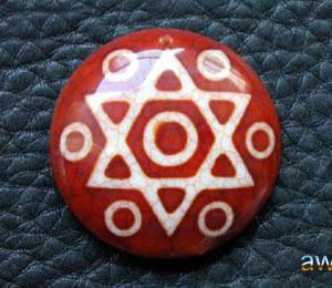 六芒星七眼天珠 板珠の単品とネックレス