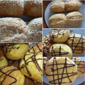 連休も巣籠り・・パン造り 🍞 胡麻の風味パンと懐かしいカスタードクリームパン 🥐