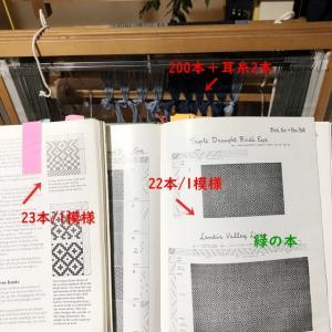 ラムウールの経糸、数えたら200本、本数合わせのために模様を変えた