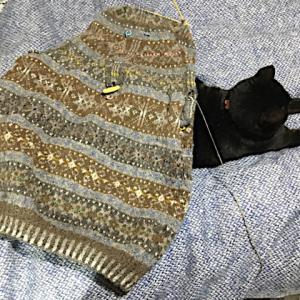 フィンランド毛糸で古典模様、肩まであと少し23cm中、ワクワクするようなパターン