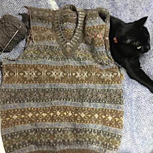 フィンランド毛糸で古典模様、袖ぐり切り開いただけ