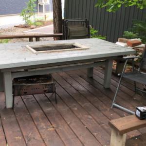 BQテーブル解体、小さな焚き火台、惜しくも雨