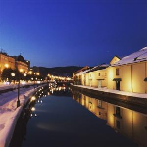 小樽運河の夜景は綺麗でした(o^^o)