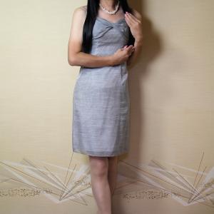 自宅で一人遊び(108) 2019年10月(6) ちょっとシックなグレーのドレスでお嬢様風に