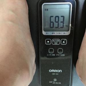 今日の体重 69.8 → 69.3