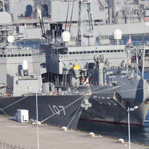 逸見岸壁で撮影した護衛艦「いなづま」と海洋観測艦「にちなん」