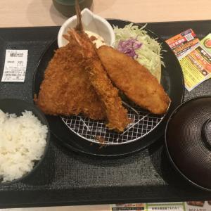 DAY7✨一日目✨松のや 海老盛合せ 定食 食べてみたw