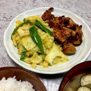 366 お昼寝した後に,タンドリーチキン風の鶏胸肉焼きと野菜炒め