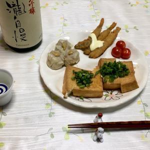 546 揚げ豆腐とわかさぎフライ,焼売で一献。