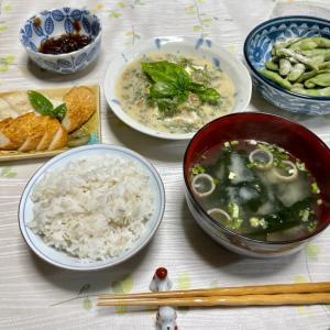 674 バジル納豆の冷奴と焼き枝豆と笹かまぼこで,夕ご飯にしました。