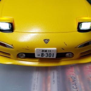 ファーストミニッツのRX-7にLEDライトを取り付けするには? ~LEDレンズの大きさと向きに合わせて取付穴を調整~