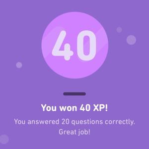 【Duolingo】 XP Ramp Up Challengeで40点獲得!