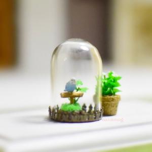 インコちゃんのガラスドーム作品