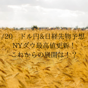 1/20 ドル円&日経先物予想 NYダウ最高値更新!これからの展開は!?