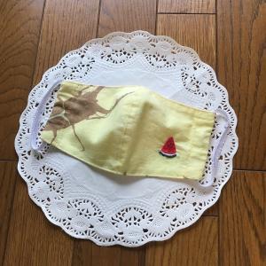 【ハンドメイド】手拭いでクワガタとかき氷の子供用立体マスク【刺繍】