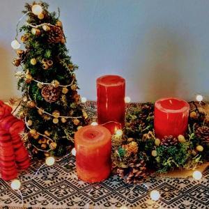 我が家の小さなクリスマスツリーと手作りクリスマスケーキのこと。