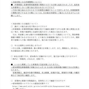 休業協力金「よくある質問」5/5更新