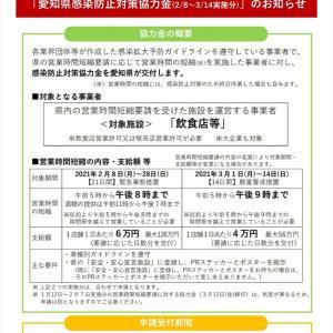 愛知県感染防止対策協力金(2/8~3/14実施分)