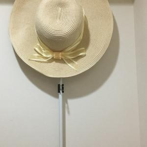 帽子の収納:100均のつっぱり棒とダブルクリップで工夫。