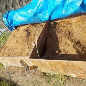 残っていたもみ殻たい肥 全部空いた畝に入れました