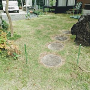 和室前の芝刈り