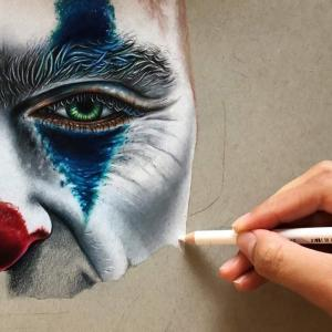 Coloured pencil drawing of Joaquin Phoenix's Joker by Danielle Sinclair : 色鉛筆だけで描いたとは思えないホアキン・フェニックスのジョーカー ! !