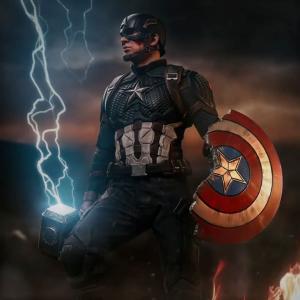 Captain America : キャプテン・アメリカのムジョルニアに雷神のパワーが降臨してるシビレる勇姿のクールなモーション・アート‼️