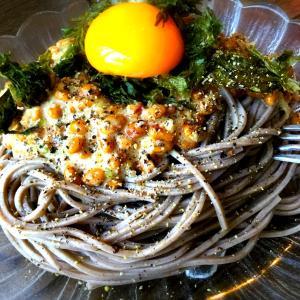 冷製*ふわふわ納豆の蕎麦ボナーラ