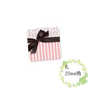 〈ショップシール四角〉リボン&ストライプ《黒×ピンク02》