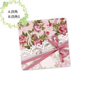 〈ショップシール四角〉クロスリボン&花模様《ピンク系04》