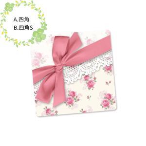 〈ショップシール四角〉リボン&ローズパターン《ピンク・ホワイト02》