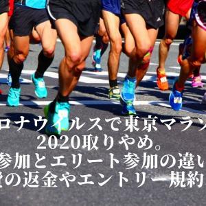 コロナウイルスで東京マラソン2020取りやめ。一般参加とエリート参加の違いと参加費の返金やエントリー規約は?