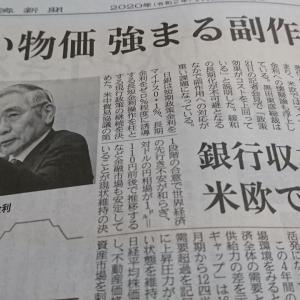 今朝の日経から2年1月22日 マイナス金利、もう4年【経済情勢】