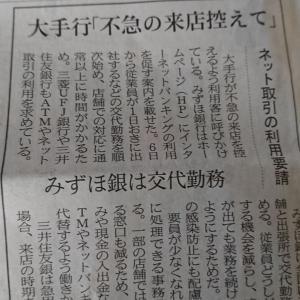 今朝の日経から2年4月4日 銀行も交代勤務へ【経済情勢】