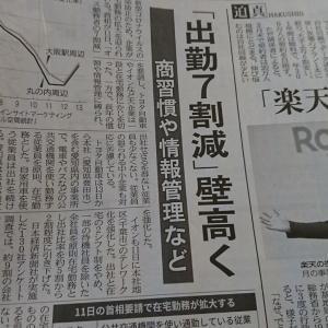 今朝の日経から2年4月14日 我が社もできない出勤7割減【経済情勢】