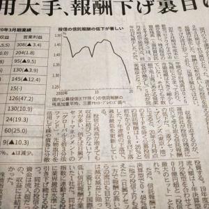 今朝の日経から2年8月6日 こりゃ大変、信託報酬安で減収に【経済情勢】