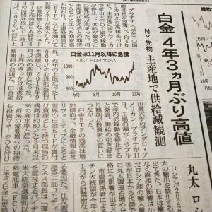 今朝の日経から2年12月5日 プラチナも騰がる街角【経済情勢】