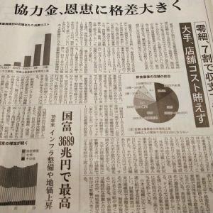 今朝の日経から3年1月21日 コストに見合う助成はできないか【経済情勢】