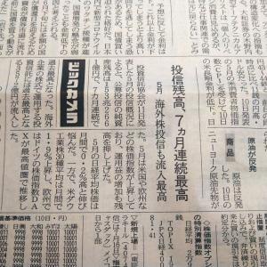 今朝の日経から3年6月12日 海外株型の投信買われる【株式・投信・マーケット】