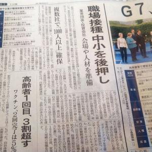 今朝の日経から3年6月13日 意外に進む職場接種【経済情勢】