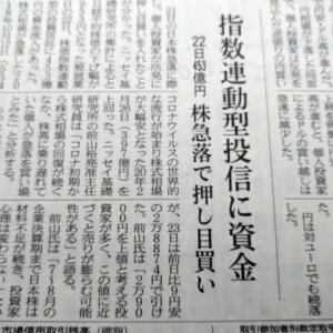 今朝の日経から3年6月24日 22日の急落で押し目買い【株式・投信・マーケット】
