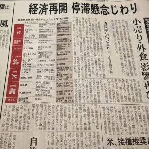 今朝の日経から3年8月1日 まだまだ外飲みはできない【経済情勢】